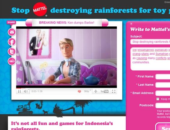 Barbie niszczy lasy deszczowe izagraża tygrysom