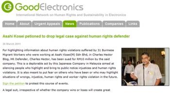 Dostawca Hitachi próbuje uciszyć obrońcę praw człowieka - wyraź sprzeciw!