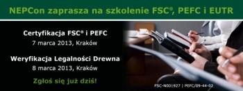Szkolenie firmy NEPcon zzakresu certyfikacji FSC, PEFC inowych wymogów EUTR